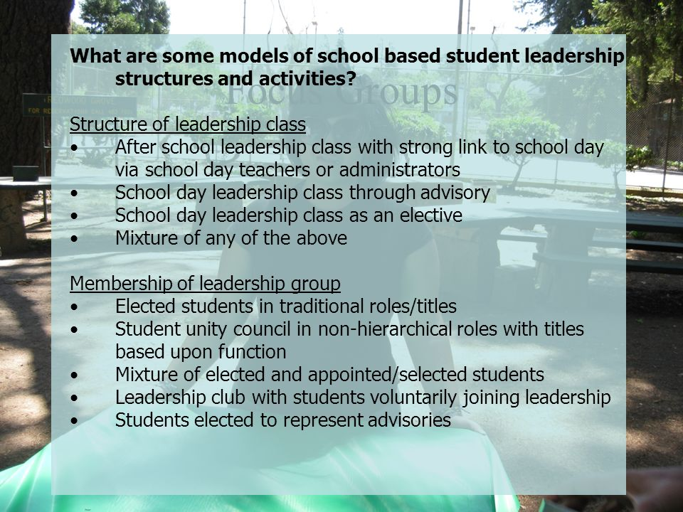What are some models of school based student leadership structures and activities