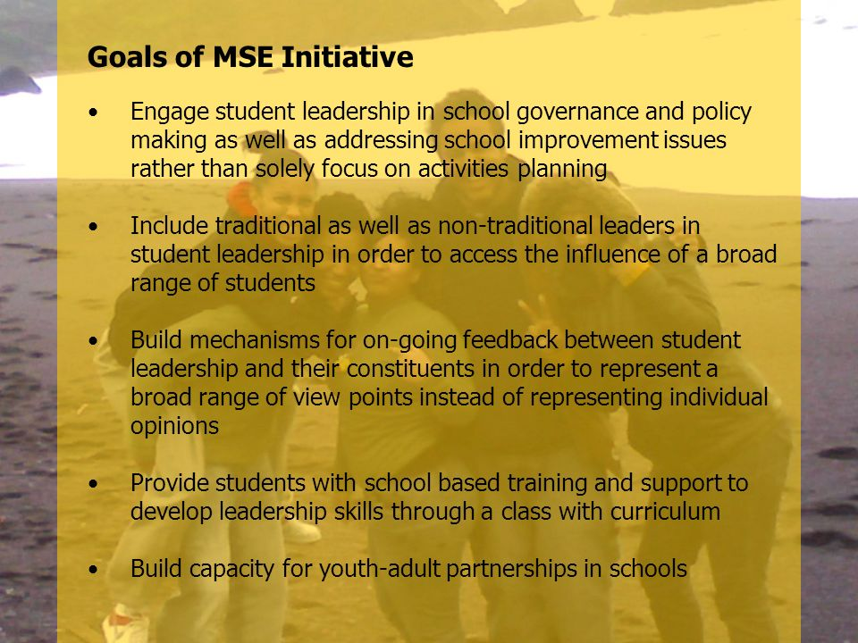 Goals of MSE Initiative