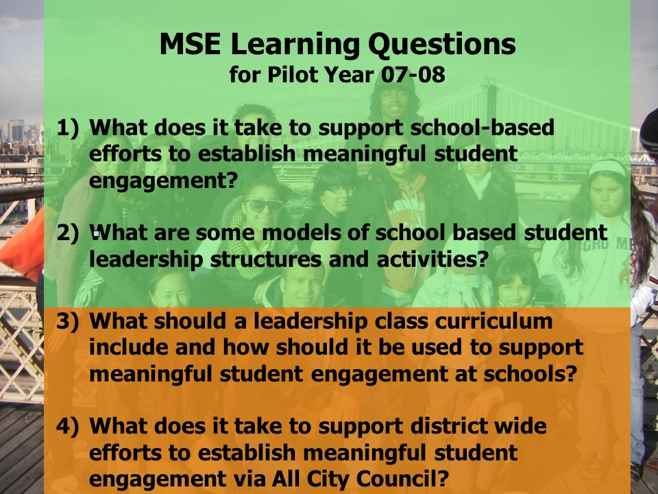 MSE Learning Questions