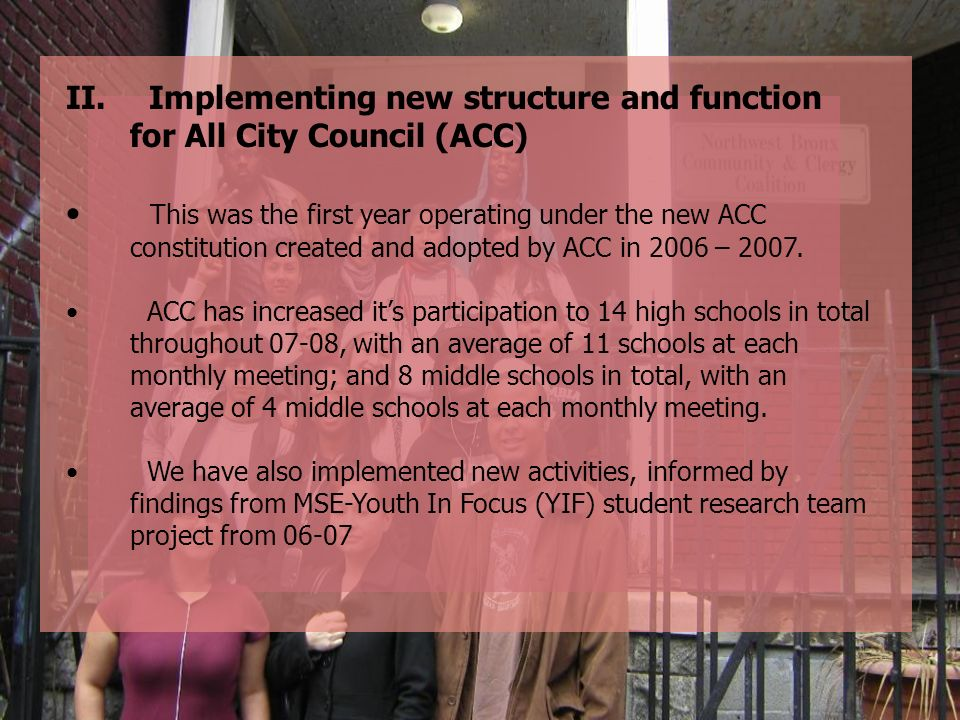 Implementing new structure and function for All City Council (ACC)