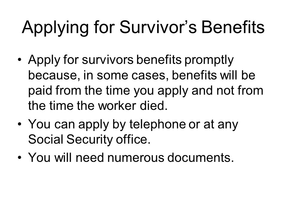 Applying for Survivor's Benefits