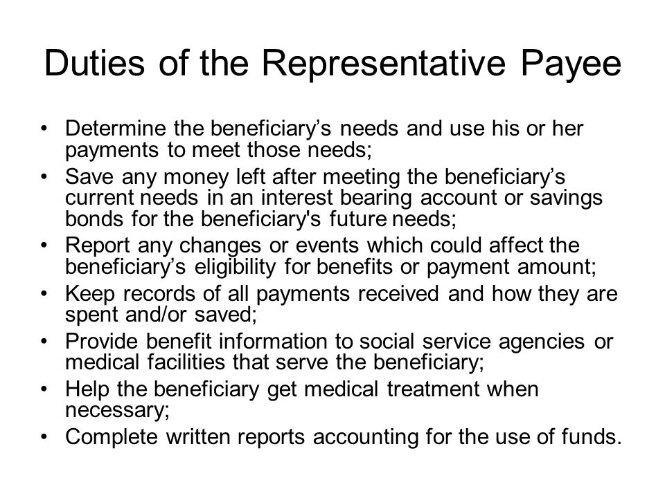 Duties of the Representative Payee