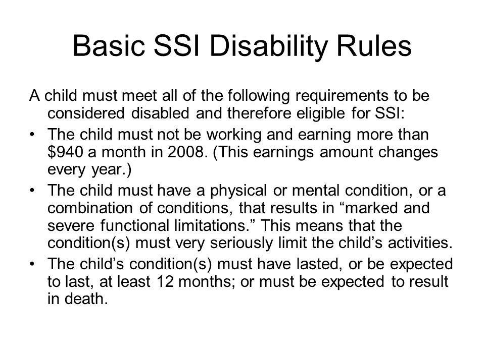 Basic SSI Disability Rules