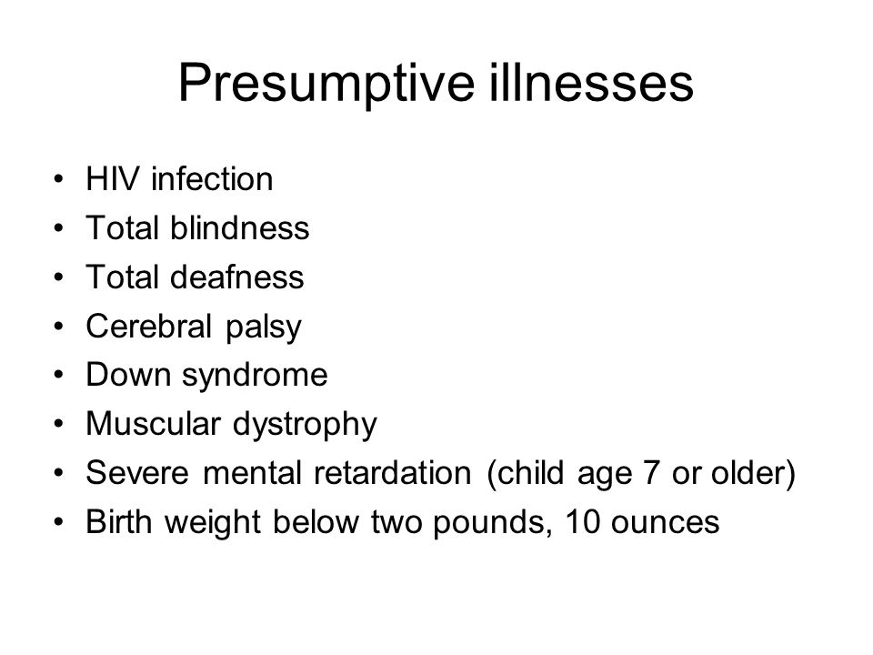Presumptive illnesses