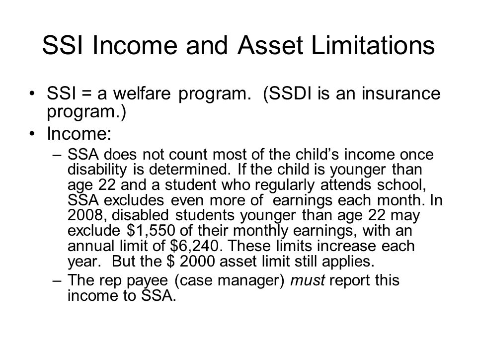 SSI Income and Asset Limitations
