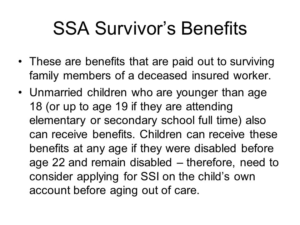 SSA Survivor's Benefits