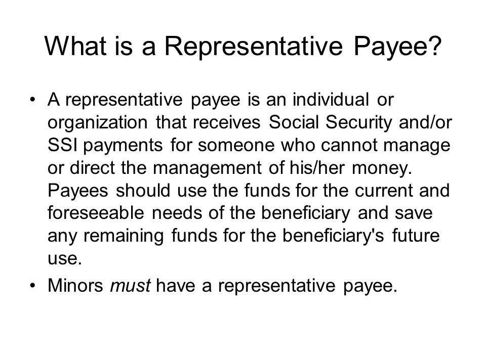 What is a Representative Payee