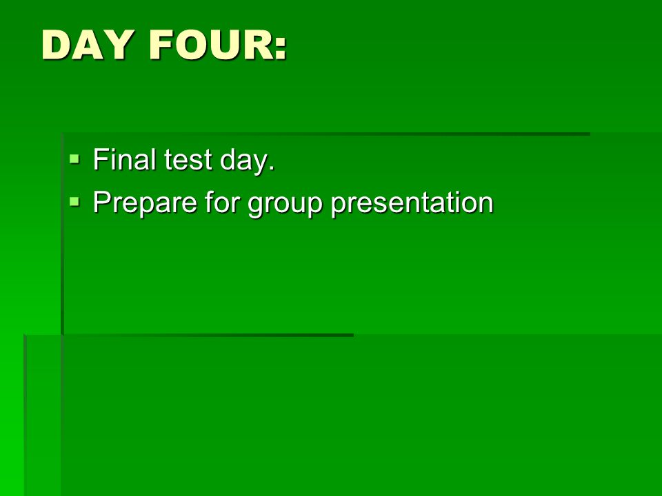 DAY FOUR: Final test day. Prepare for group presentation