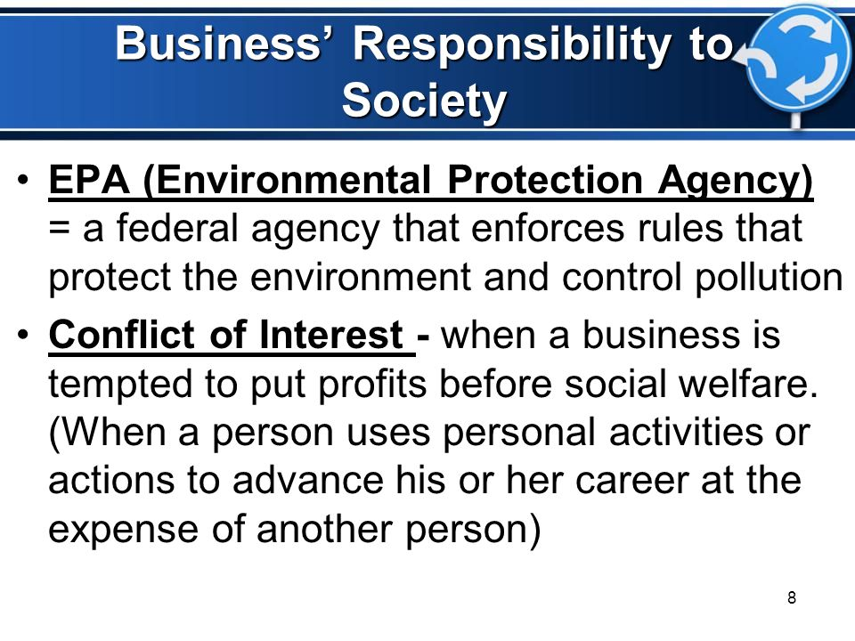 Business' Responsibility to Society