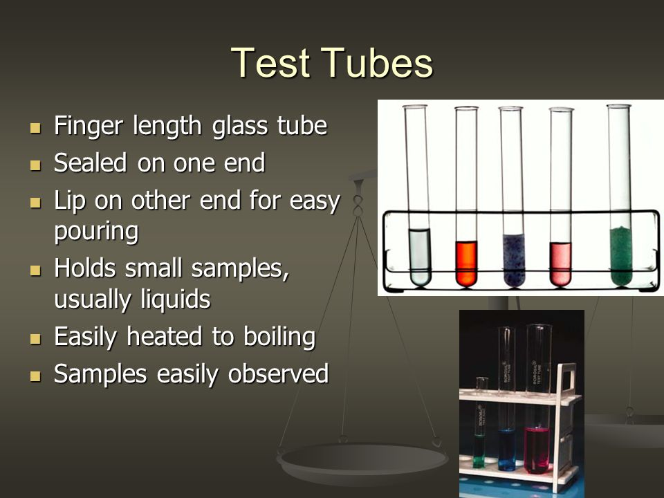Test Tubes Finger length glass tube Sealed on one end