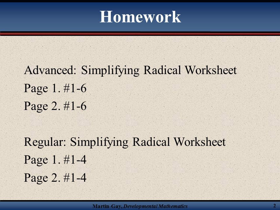 Warmup 5 Find The Product Of Ab Let A Ppt Download. Homework Advanced Simplifying Radical Worksheet Page 1. Worksheet. Simplifying Radicals Worksheet At Mspartners.co