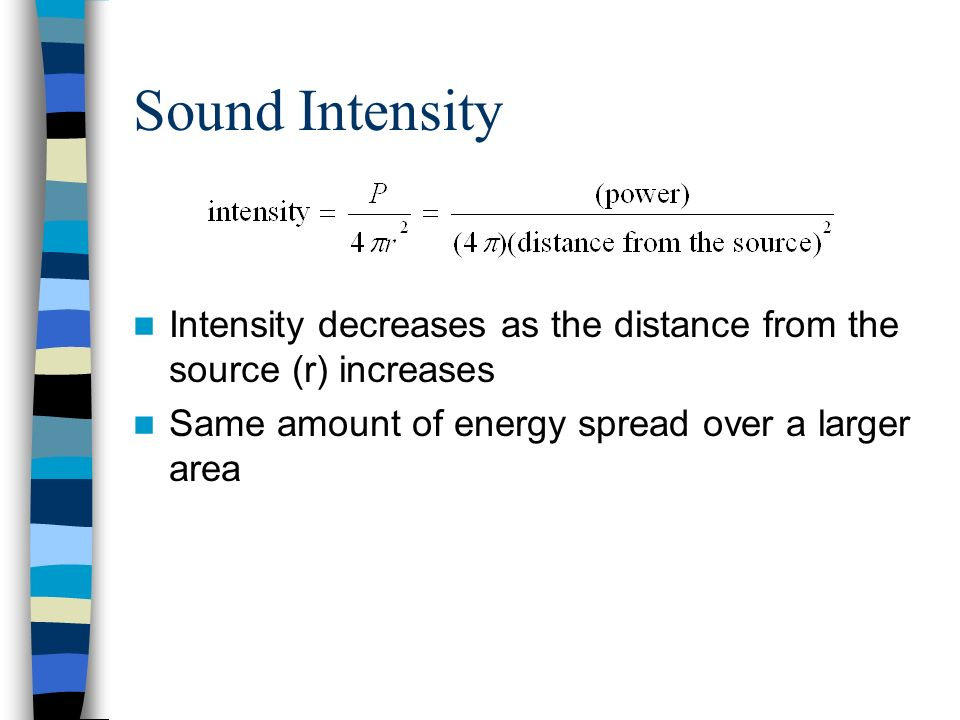 Sound Intensity Intensity decreases as the distance from the source (r) increases.