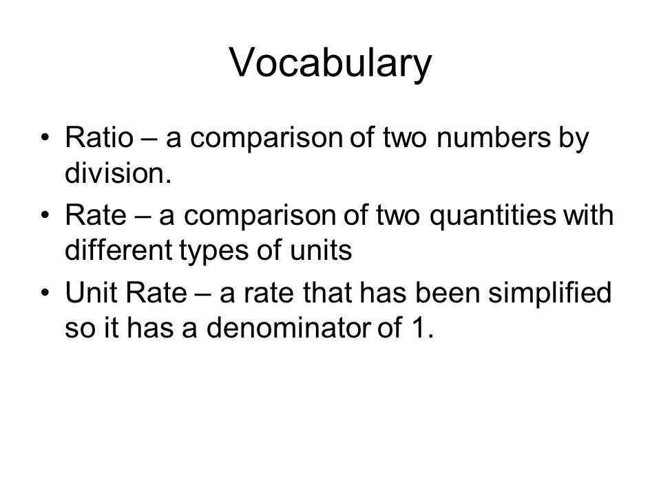 Vocabulary Ratio – a comparison of two numbers by division.