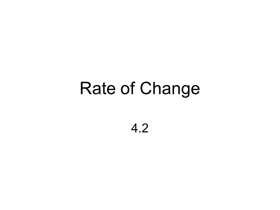 Rate of Change 4.2