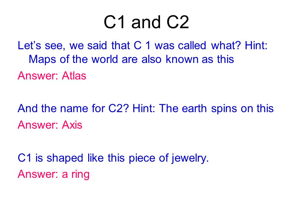 C1 and C2 Let's see, we said that C 1 was called what Hint: Maps of the world are also known as this.