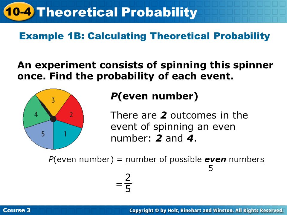 Example 1B: Calculating Theoretical Probability