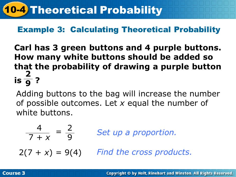Example 3: Calculating Theoretical Probability