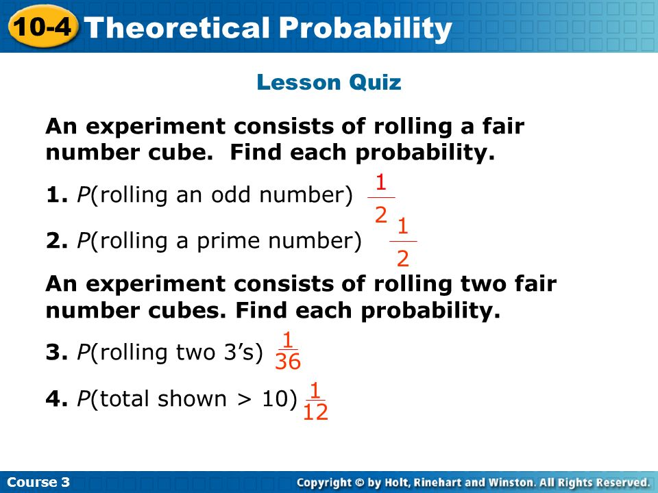 Theoretical Probability Insert Lesson Title Here