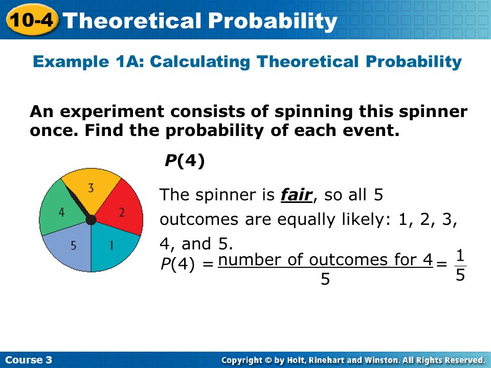 Example 1A: Calculating Theoretical Probability