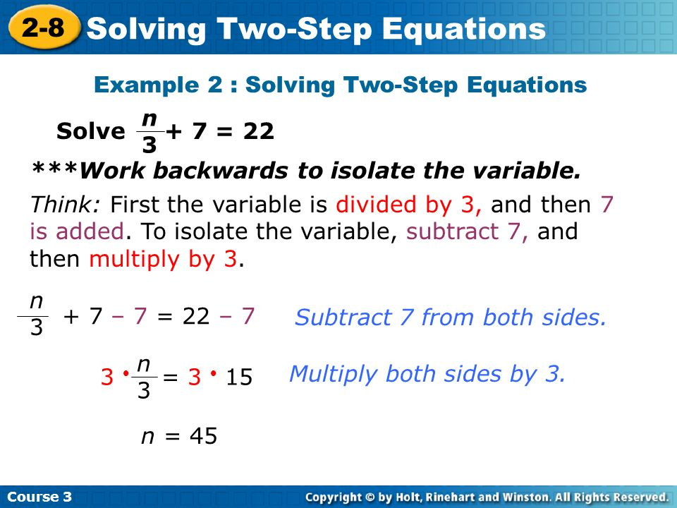 Example 2 : Solving Two-Step Equations