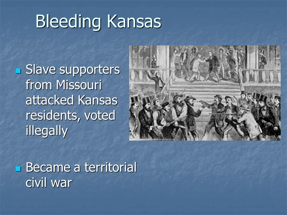 Bleeding Kansas Slave supporters from Missouri attacked Kansas residents, voted illegally.