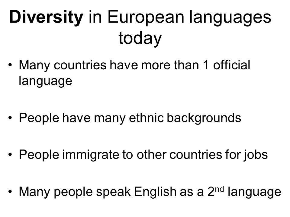 Diversity in European languages today