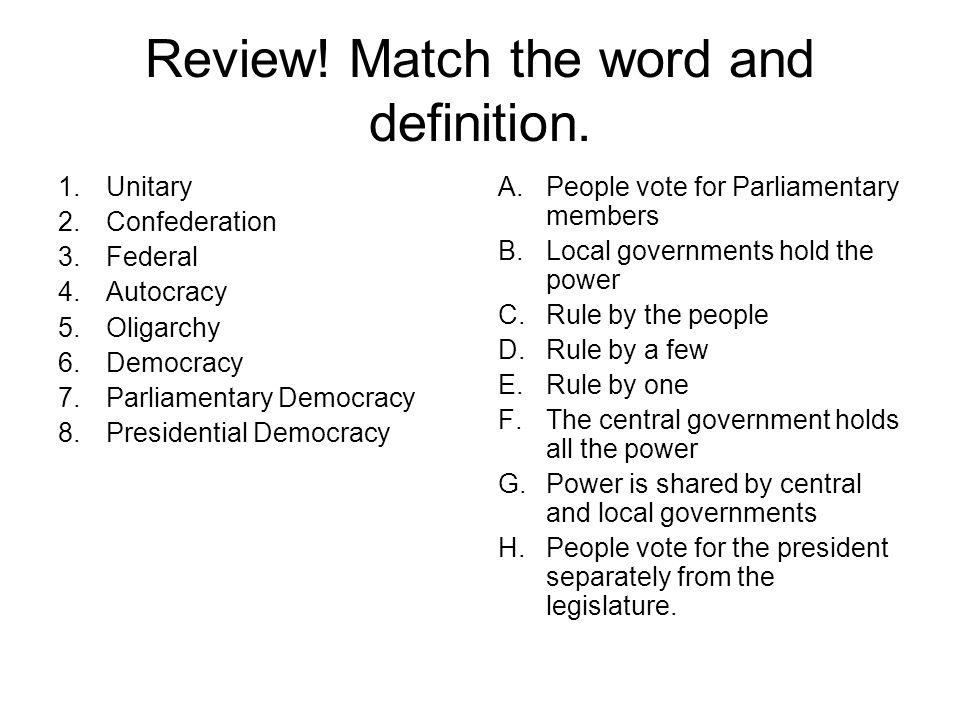 Review! Match the word and definition.