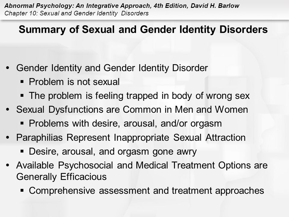 Sexuality and gender identity disorders
