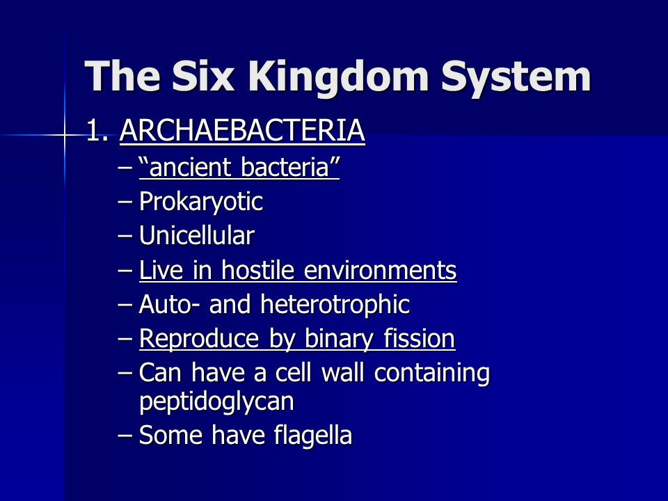 The Six Kingdom System 1. ARCHAEBACTERIA ancient bacteria
