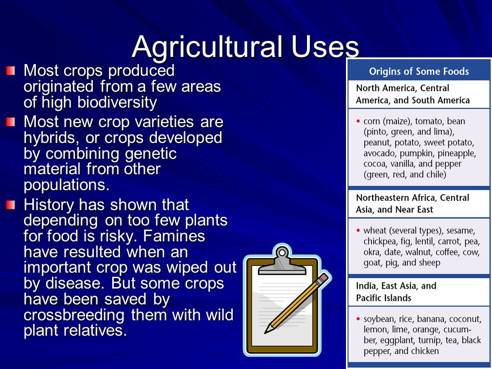 Agricultural Uses Most crops produced originated from a few areas of high biodiversity.