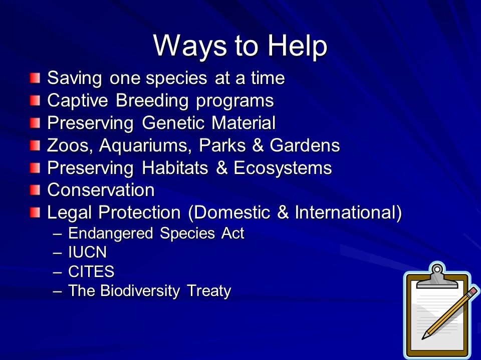 Ways to Help Saving one species at a time Captive Breeding programs