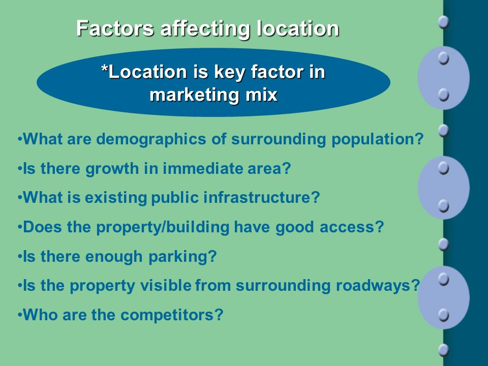 Factors affecting location *Location is key factor in marketing mix