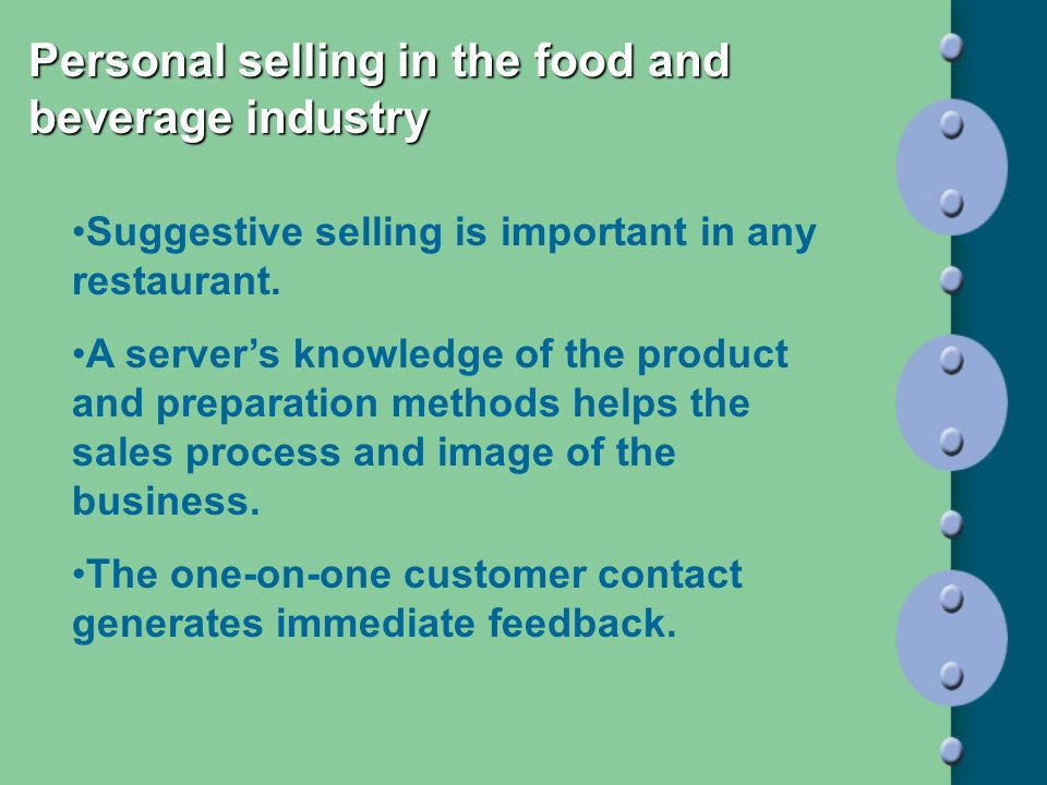 Personal selling in the food and beverage industry