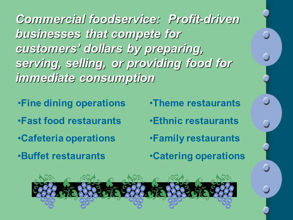 Commercial foodservice: Profit-driven businesses that compete for customers' dollars by preparing, serving, selling, or providing food for immediate consumption