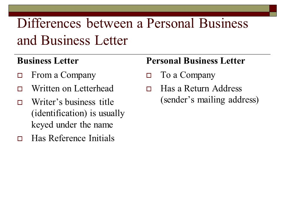differences between a personal business and business letter - Personal Business Letter