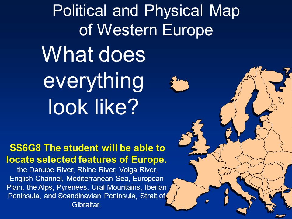 Political and Physical Map of Western Europe