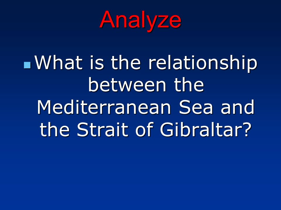 Analyze What is the relationship between the Mediterranean Sea and the Strait of Gibraltar