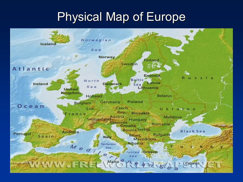 Physical Geography Of Europe And Russia Map