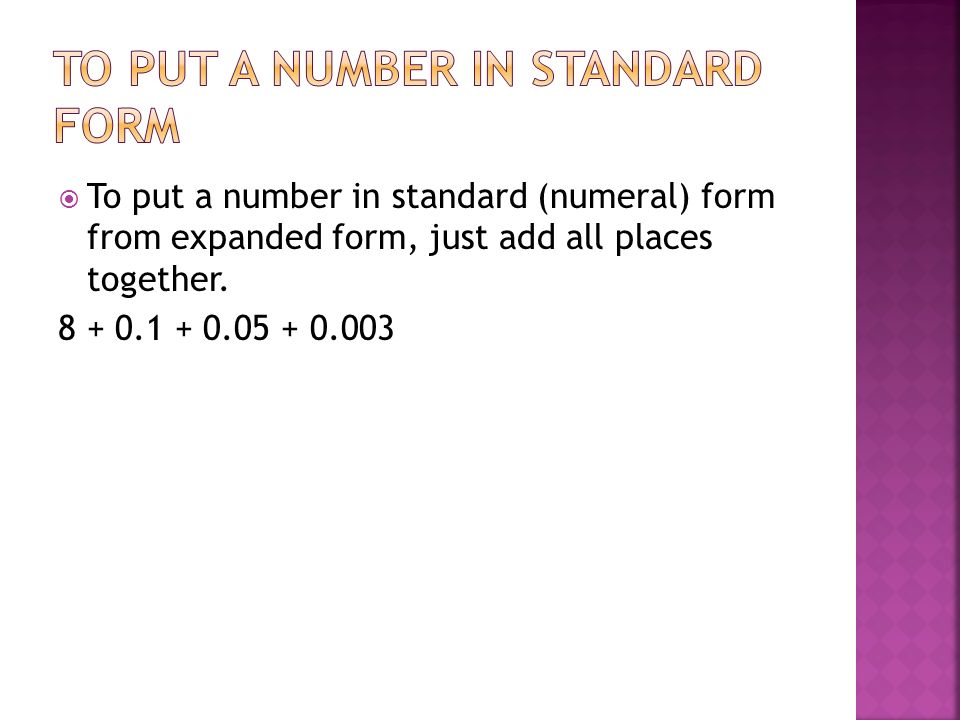 0.234 in expanded form  Place Value, Word, Expanded and Standard Forms - ppt video ...