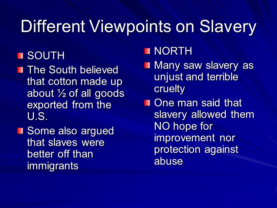 Different Viewpoints on Slavery