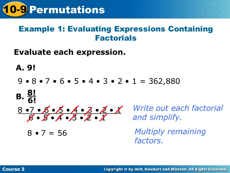 Example 1: Evaluating Expressions Containing Factorials