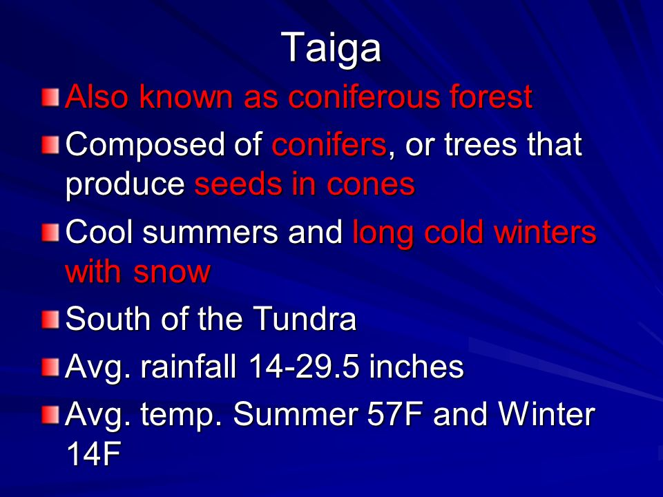 Taiga Also known as coniferous forest