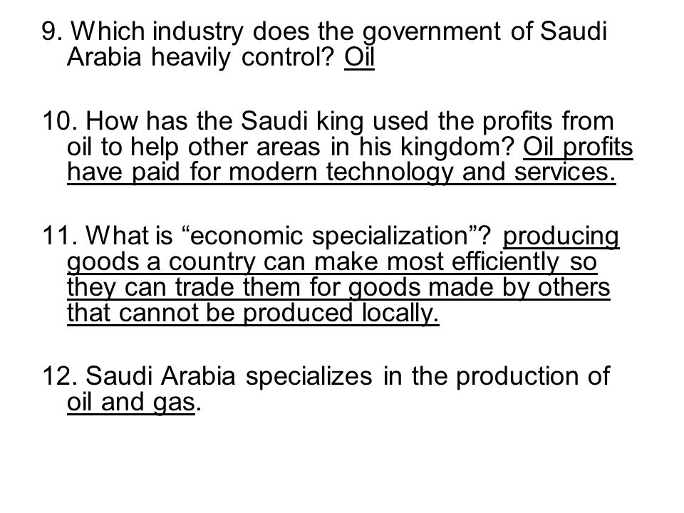 9. Which industry does the government of Saudi Arabia heavily control