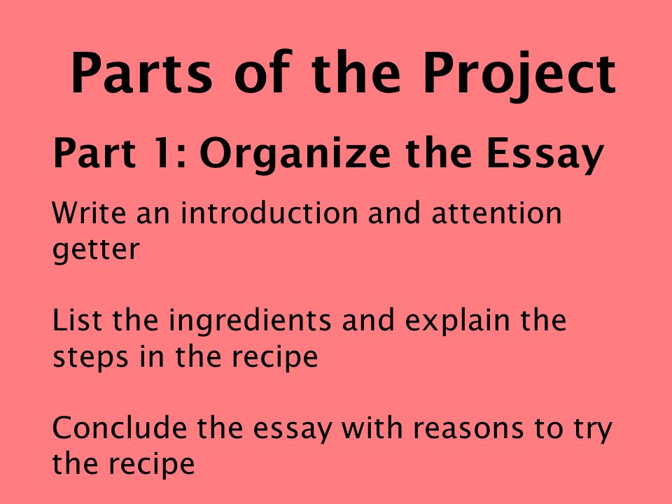 Parts of the Project Part 1: Organize the Essay