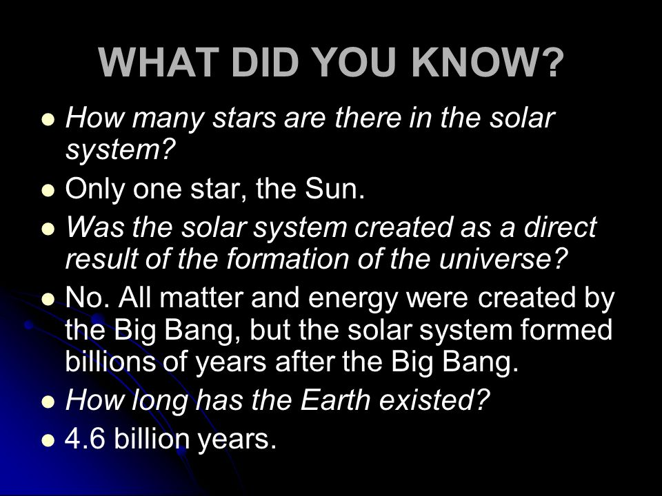 WHAT DID YOU KNOW How many stars are there in the solar system