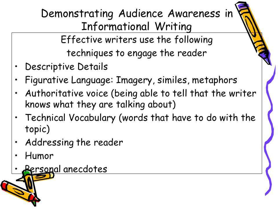 Demonstrating Audience Awareness in Informational Writing