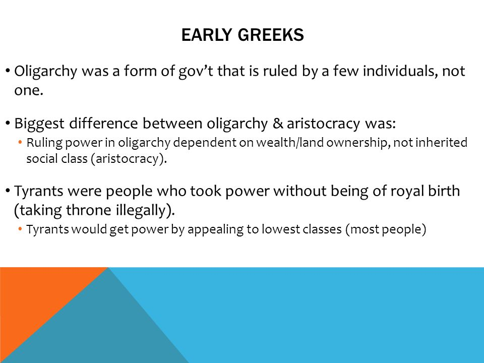 difference between oligarchy and aristocracy