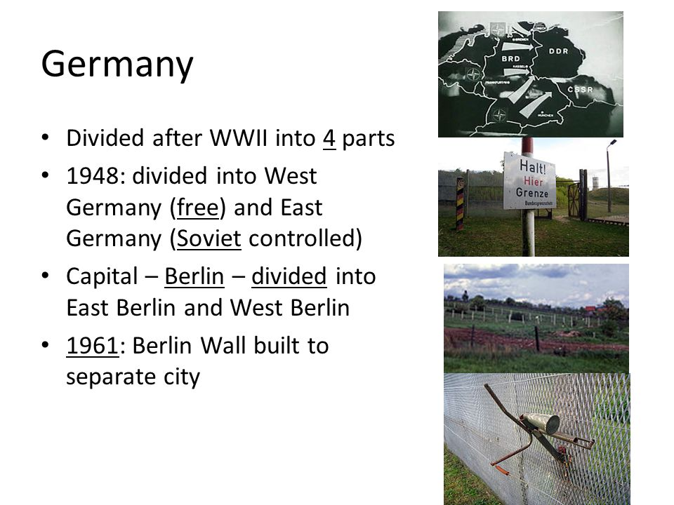 Germany Divided after WWII into 4 parts