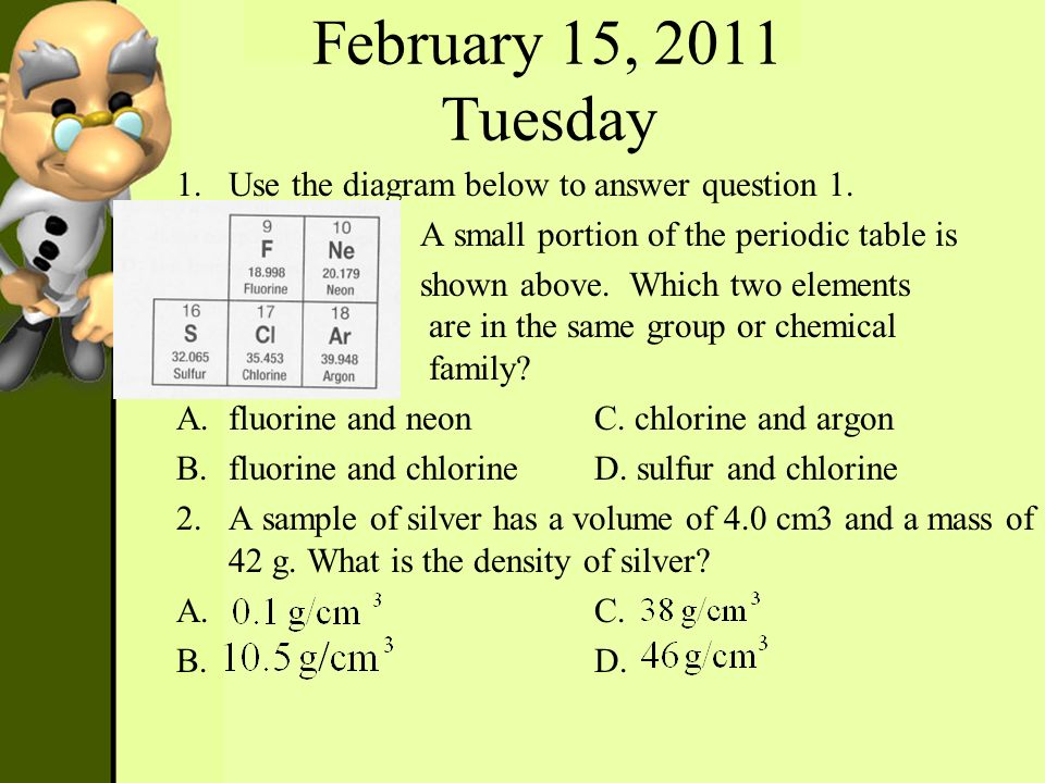 February 15, 2011 Tuesday Use the diagram below to answer question 1.