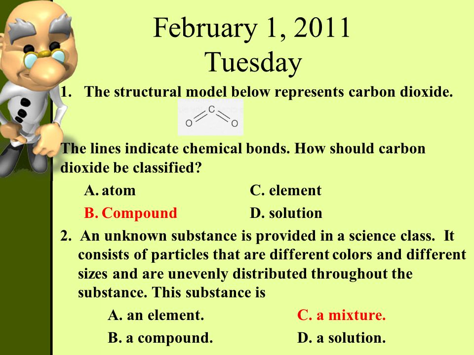 February 1, 2011 Tuesday The structural model below represents carbon dioxide.